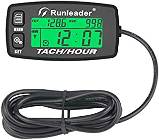 Runleader Hour Meter Tachometer,Maintenance Reminder,Alert RPM,Backlit Display,Initial Hours Setting,Battery Replaceable,Use for ZTR Mower Generator Marine ATV and Gas Powered Device. (Button-Black)