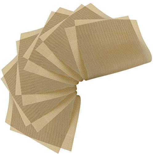 6 stks Khaki Eco-vriendelijke PVC Waterdichte Warmte Geïsoleerde Anti Slip Plaats Mat Set voor Keuken Business Office