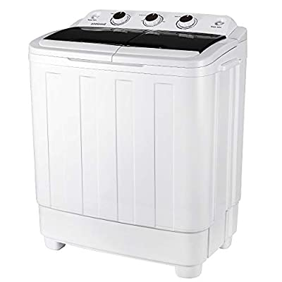 EROMMY Portable Mini Compact Twin Tub Washing Machine w/Wash and Spin Cycle, 17lbs 2IN1 Washer Spin Dryer Ideal for Dorms, Apartments, RVs, Camping etc, Black