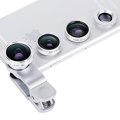 Phone Camera Lens,4 in 1 Cell Phone Lens Kit for iPhone and Android, Universal Smartphone Lens Camera Lens with CPL Macro Wide Angle Lens
