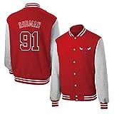 YPKL Chicago Bulls 91# - Camiseta de béisbol unisex de baloncesto, Dennis Rodman, manga larga, chaqueta deportiva de moda (S-XXXL)