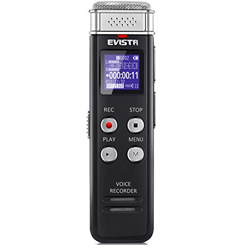 Best voice activated recorder - EVISTR 16GB Digital Voice Recorder Voice Activated Recorder with Playback - Upgraded Small Tape Recorder for Lectures, Meetings, Interviews, Mini Audio Recorder USB Charge, MP3