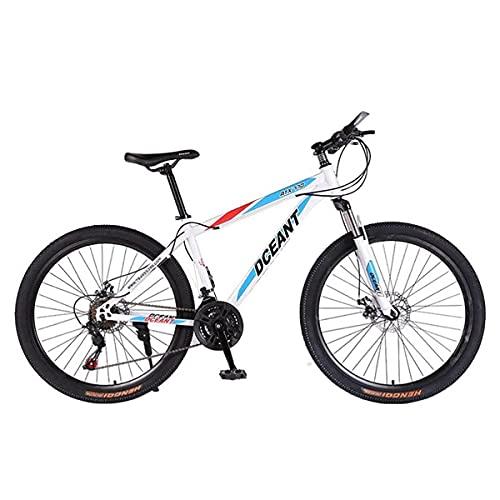 MQJ 21 Velocità Gears Mountain Bike 26 in Ruota Mtb Telaio in Acciaio Al Carbonio Alto con Freni a Disco Daul per Adulti Donne da Donna/Bianco