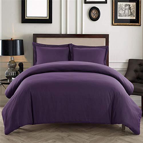 BuLuTu - Funda de edredón para cama de matrimonio, color morado oscuro, morado y morado oscuro, funda de edredón para adultos,...
