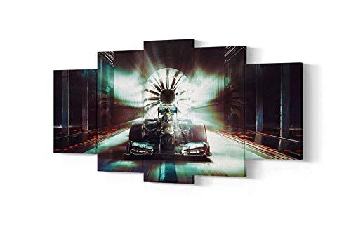 KOPASD Canvas Picture XXL - Mercedes Formula One Racing Car - Your Desired Motif On Artist's Canvas - 200 X 100 Cm Multiple Parts (5 Pieces)