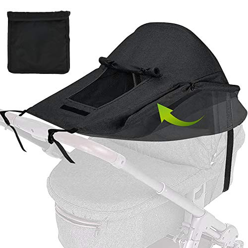 willkey Pram Sunshade Sun Cover, Universal Baby Stroller Awning, Stroller Sun Shade Windproof Waterproof Cover for Stroller, Pram, Pushchair, Buggy and Carrycot (Black)