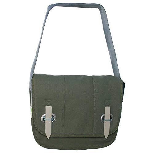 HAB & GUT PROVOKED by, Messenger Bag aus Segeltuch mit Verschlusslasche olivgrün 35 x 30 cm