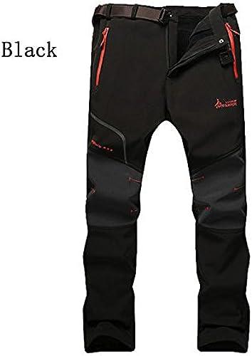 Alamor Pour des hommes de plein air élastique Pantalon Décontracté Imperméable à L'Air Chaud épais Ahommets Soft Shell Pantalons d'assaut-Noir-M