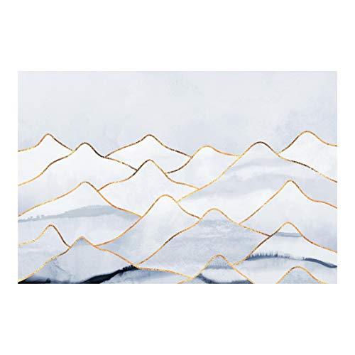 Bilderwelten Fototapete Vlies - Aquarell Berge Weiß Gold - Vliestapete Breit 290 x 432cm