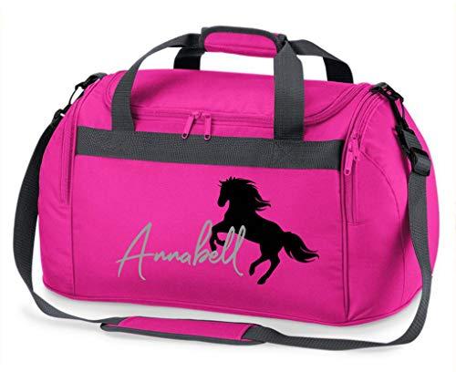 Reittasche mit Namensdruck personalisiert | Motiv aufsteigendes Pferd mit Name | Trage- und Sporttasche für Mädchen zum Reiten in vielen Farben verfügbar (pink)