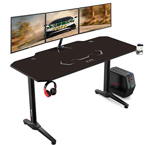 AuAg 140 cm Gaming Tisch Racing Style Gaming Tisch Computer Schreibtisch Workstation T-förmig Büro PC Computer Robuster Tisch mit Mausunterlage, Getränkehalter und Kopfhörerhaken