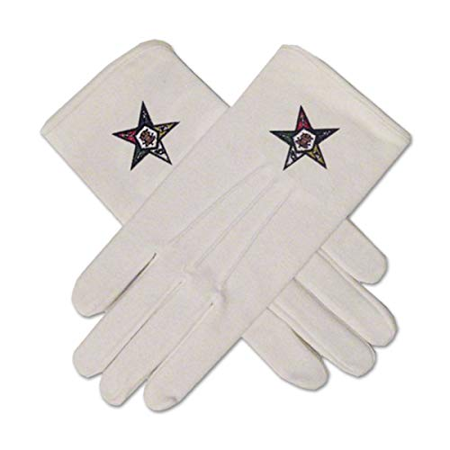 Order of the Eastern Star Masonic Embroidered Cotton Gloves - [White]