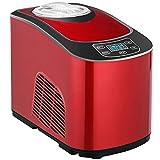 Heladera,Maquina de Helados 1.5L, Heladera con Compresor 140W, Automática con Autorefrigeración, Pantalla LCD, Multifunción (Helado Suave Duro), Máquina para Hacer Helado Yogur y Sorbete,Rojo