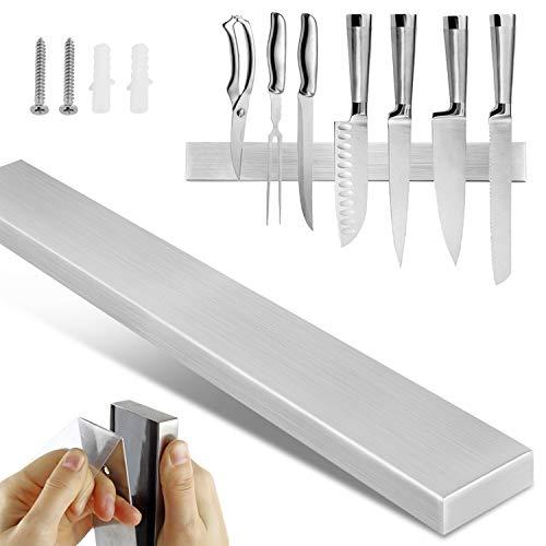 AYITOO Soporte Magnético para Cuchillos 40CM, Cuchilla Magnética Acero Inoxidable,Soporte para Cuchillos para Cocina, Montaje en Pared Barra magnética para Cuchillos