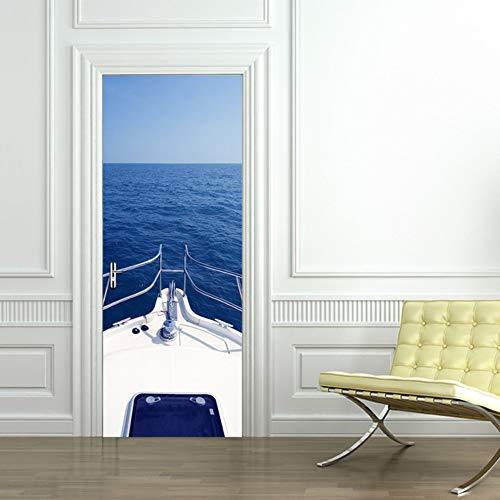 Preisvergleich Produktbild 3D 2 Stücke Tür Aufkleber Wandbild Kunst Tapete Meer Motorboot Schiff Muster Raum Wandaufkleber Ausgangsdekor Tor Poster
