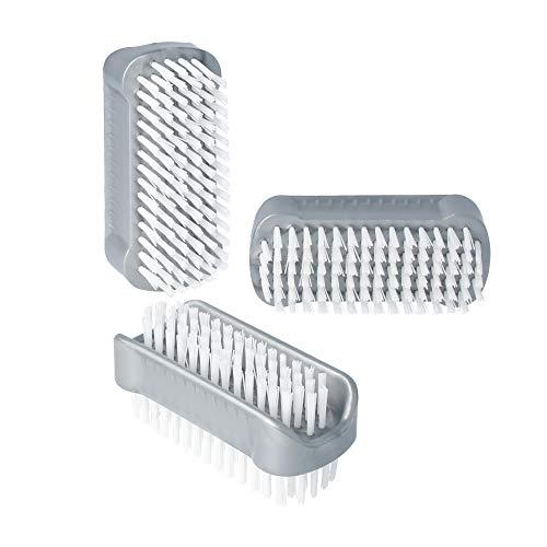 3er Pack / Stück doppelseitige Bürsten in Grau im Set Nagelbürsten / Handwaschbürste für Bad, WC, Waschbecken, Werkstatt von PARSA