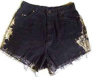Vintage Lee Denim Jean Shorts Size 10 Upcycled Black High Waisted Fray Tye Dye