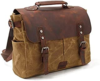 Vintage Oil Wax Canvas with Crazy Horse Leather Briefcase Genuine Leather Handbag Men's Bag Shoulder Slung Laptop Handbag (Color : Brown, Size : S)