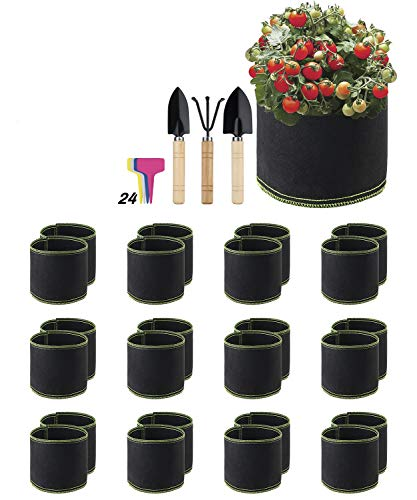 X Home 24 Pack 1 Gallon Grow bags, Heavy Duty Thickened Non-woven Aerated Reusable Fabric Growing Containers with Handles, Easy to Move in Patio and Garden for Vegetables Fruits and Flowers