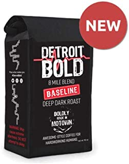8 Mile Baseline Coffee - Dark Roast - Ground - 8 Ounce Bag - 100% Arabica - Detroit Bold Coffee