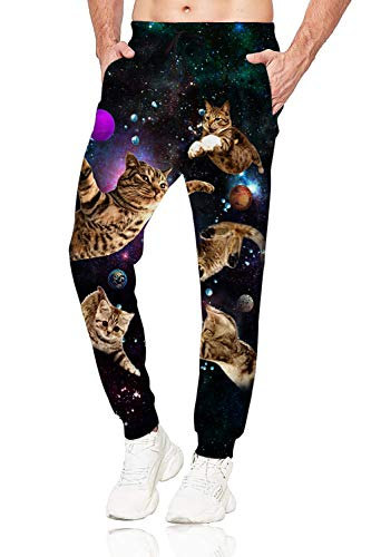 Belovecol Space Cat Joggers Pants for Mens Womens Sweatpants with Pocket Rave Pants Casual Trousers XL