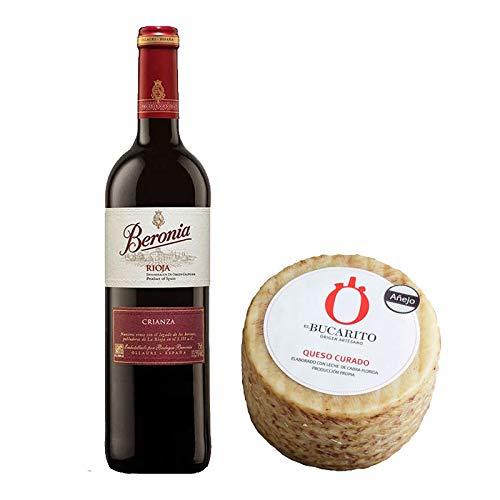 Pack de Vino tinto Beronia Crianza y Queso Curado Añejo Pasteurizado - Vino de 75 cl y Queso de 800 g aprox - Mezclanza