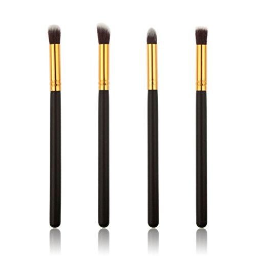 4pcs oeil brosses Eyeshadow Set brosse cosmétiques maquillage pinceau fusion mis (or + noir)