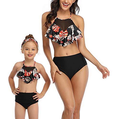 Damen Split Badeanzug + Kinder Badeanzug Bikini Anzug Hohe Taille Rückenfrei Kaufen Big Send Mädchen Eltern-Kind Badeanzug Spa Schwimmen Urlaub Strand-H-M
