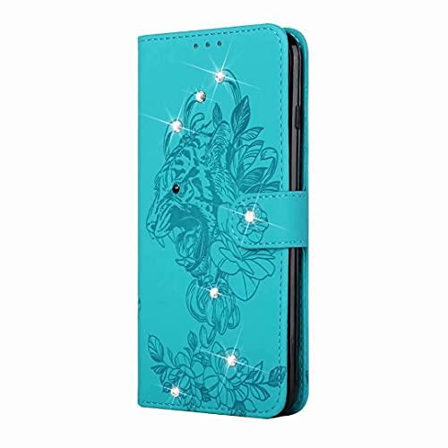 Funda para Samsung Galaxy S21 de piel sintética con tapa y correa para la muñeca, hecha a mano, con diamantes brillantes, color azul cielo