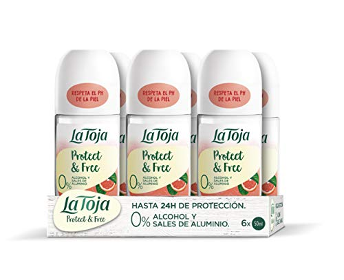La Toja Protect & Free - Desodorante Roll-On Pomelo Y Frambuesa - 6uds de 50ml (300ml) – Ingredientes naturales y fórmulas veganas – SIN alcohol ni sales de aluminio