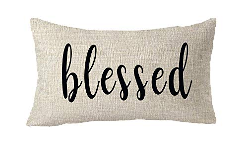 ASTIHN Blessed Farmhouse Decorative Gift Cotton Linen Throw Pillow Cover Cushion Case Home Chair Office Decorative Rectangle 12 X 20 inches
