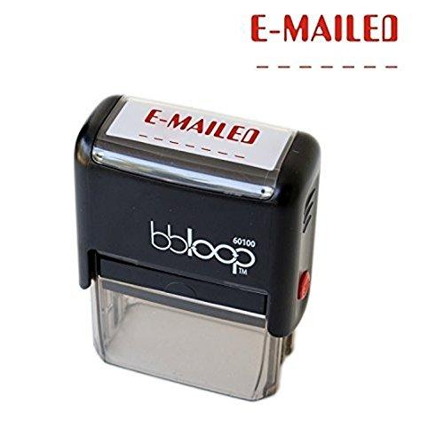 "BBloop Stamp ""E-MAILED"" Stamp. Self-Inking, Rectangular. RED Ink"