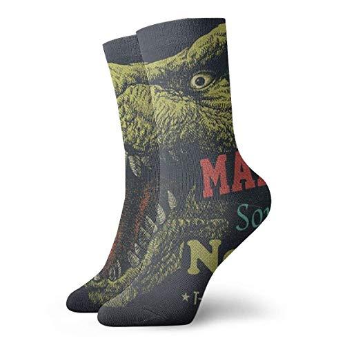 Christmas Unisex Classics Socks Sport Athletic Stockings 30cm Long Sock Gift Socks(Dinosaur Make Some Noise Word 3d Fashion Animal Artwork Monster)