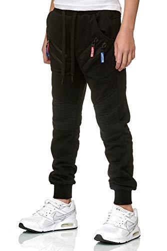 XRebel Kinder Junge Jogging Hose Jogger Streetwear Sporthose Modell W09 (Gr. 10 (128-134), Schwarz, Numeric_128)