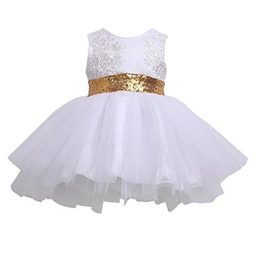 Frecoccialo Mädchen Kleid Prinzessin Kleid Ärmellos Spitze Tüll Taufkleid Bogen Brautkleid Festlich Hochzeit Partykleid Festzug Babybekleidung (Weiß, 6-12 Monate)