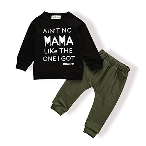 Baby Boy Clothes Funny Letter Printed Tops Leggings Pants Outfits Set for Toddler Boys (18-24 Months)