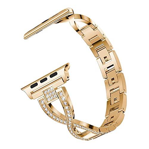 YYAN Bracciale da donna adatto per Applewatch adatto per Apple Watch Band 40mm 38mm Serie 6 5 4 3 Cinturino 44mm 42mm Gioielli in metallo Correa Fit per Iwatch Band (colore cinturino: oro rosa)