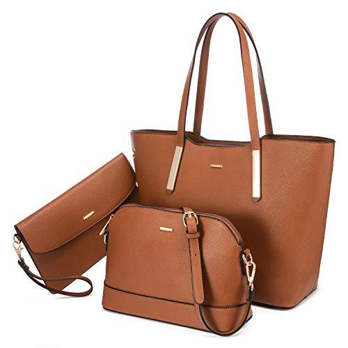 LOVEVOOK Handtasche Damen Set Leder Taschen Shopper Groß Schultertasche Damen-Henkeltaschen Handbags for Women Tote Bag für Schuhe Arbeiten Einkaufen Gehen Reise, Braun