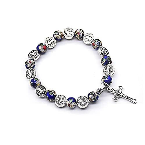 Vintage Saint Benedict Cloisonne Beads Strand Rosario Pulsera Cruz Colgante Pulsera para Hombres Mujeres joyería Religiosa