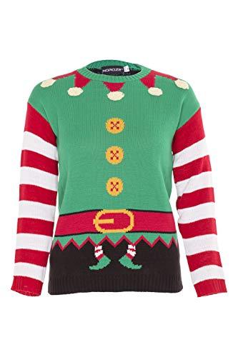 NOROZE Kinder Jungen Mädchen 3D Weihnachten Pullover Weihnachtsmann Schneemann Pfefferkuchen Rentier Neuheit Pulls Strickpullover Pulli (7/8 Jahre, Elfe Grün)
