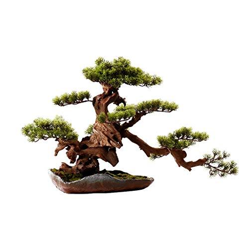 Jixi Artificial Trees Artificial Bonsai Welcoming Pine Tree, Simulation Potted Plant Decorative Bonsai, Desk Display Fake Tree Pot Ornaments Fake trees (Color : Green)