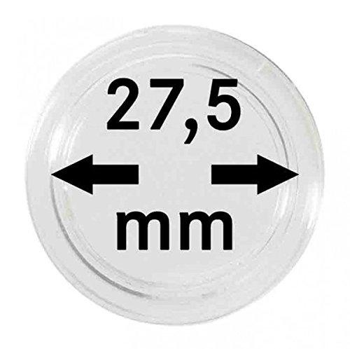 LINDNER Das Original Münzkapseln Innen-Ø 27,5 mm, 10er-Packung, z.B. für die Deutschen 5 Euro-Sammlermünzen 'Planet Erde', 'Tropische Zone' und 'Subtropische Zone'