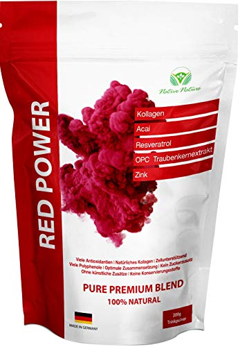 RED POWER - Smoothie Mix mit Kollagen, Acai, Resveratrol, OPC Traubenkernextrakt, Zink. Viele Antioxidantien und Vitamine.