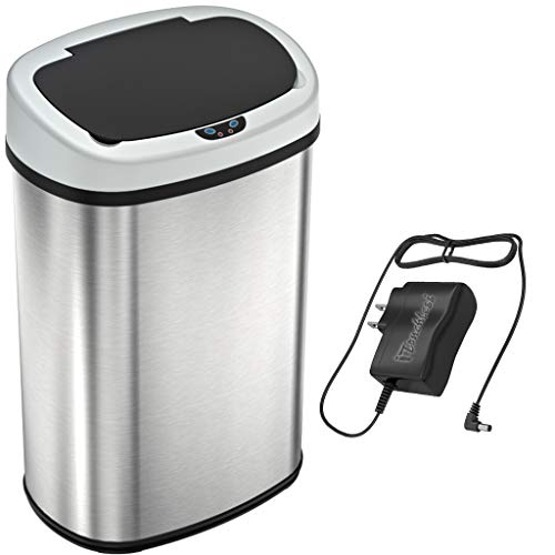 Product Image of the SensorCan 13 Gallon Battery-FREE Automatic Sensor Kitchen Trash Can with Power Adapter, Oval Shape Stainless Steel Garbage Bin with AC Plug