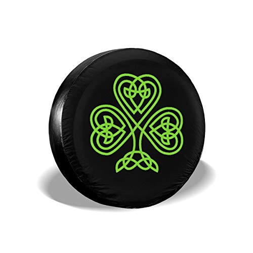 Spare Tire Covers Green Celtic Knot Shamrock Irish Heritage Universal Waterproof Sun Protector Dust - Proof Wheel Covers for Jeep, Trailer, RV, SUV, Truck, Camper and Other Vehicle 14 15 16 17 Inch