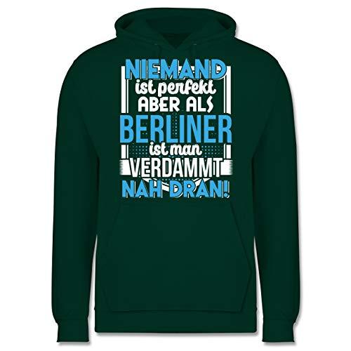 Shirtracer Städte - Niemand ist perfekt Berliner - 3XL - Dunkelgrün - JH001 - Herren Hoodie und Kapuzenpullover für Männer
