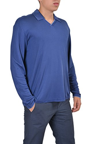 Armani Collezioni 100% Silk Blue Polo Style V-Neck Men's Sweater US XL IT 54;