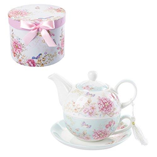 London Boutique Set da tè per Una teiera in Porcellana Shaby Chic Flora Bird Rose Butterfly (Blu)