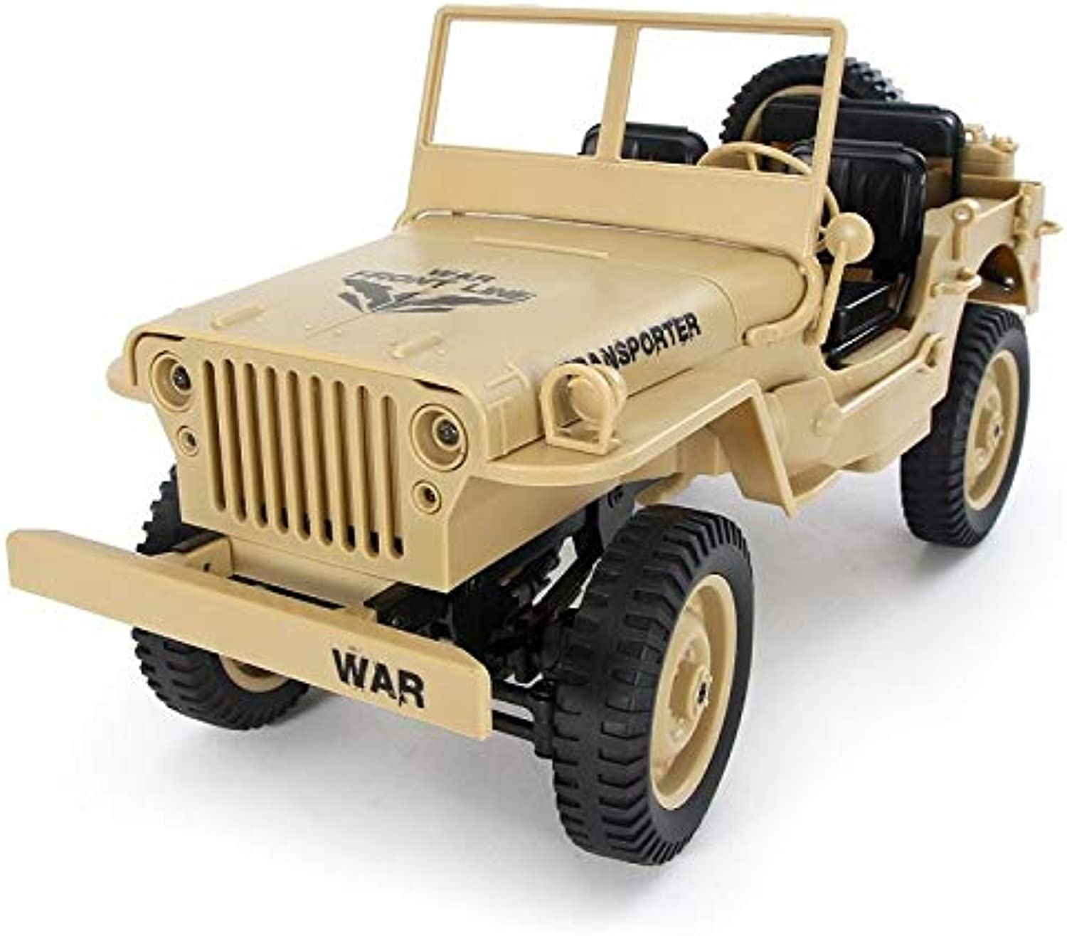 Generic JJRC Q65 1 10 RC Car 2.4G 4WD Congreenible Remote Control car Light Jeep FourWheel Drive OffRoad Military Truck Climb car Toy Yellow 1 Battery
