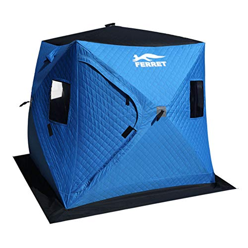 FERRET 3-4 Person 72 x 72 x 70 inches Waterproof Pop-up Portable Ice Shelter Tent Insulated Ice Shelter Fishing Tent with Carrier Bag, Blue